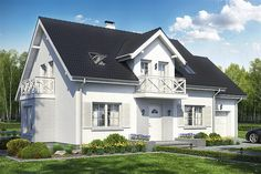 projekt Sowa 7 z garażem 2-st. WRL1011 Home Fashion, Garden Art, Home Projects, Sweet Home, Villa, Windows, Mansions, House Styles, Staircases