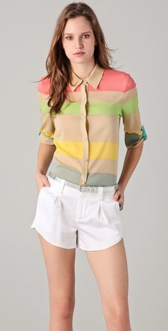 Striped button-up by Alice and Olivia. I want this shirt so bad, but I'm not will to pay 200+ for it