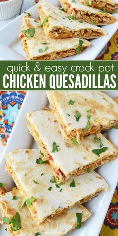 This crockpot chicken quesadilla recipe is so easy and packed with tons of flavor. Slow cooker chicken quesadilla recipe will be a new favorite. It's perfect for busy nights. Learn how to make chicken quesadillas.