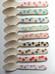 10 wooden ice cream spoons from Sucre and Spice
