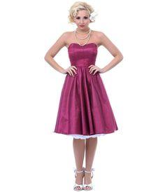 Magenta Tulle Stapless Samantha Dress - Unique Vintage - Prom dresses, retro dresses, retro swimsuits.