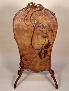 E.GALLÉ__ Fire screen with marquetry of various woods. Emile Gallé (1846-1904)