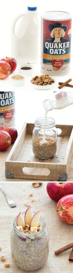 Enjoy the sweet and delicious flavors of apple pie for breakfast! This amazing Apple Pie Overnight Oats recipe is simple and easy to prepare the night before and enjoy the next morning. Use Quaker® Old Fashioned Oats for a quick and convenient morning meal.