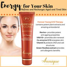 A leader in the South African health and beauty industry, Annique's products contain Rooibos - a trusted and scientifically proven remedy. Annique creates life-changing opportunities every day. Vitamins For Skin, Younger Skin, Q10, Forever Young, Vitamin E, Health And Beauty, Anti Aging, Therapy, Skin Care