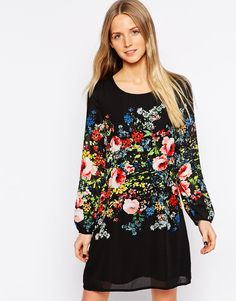 Yumi+Shift+Dress+with+Floral+Placement+Print