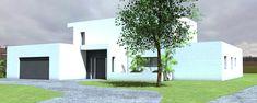 Maison d'architecte contemporaine à toit terrasse et grande façade vitrée