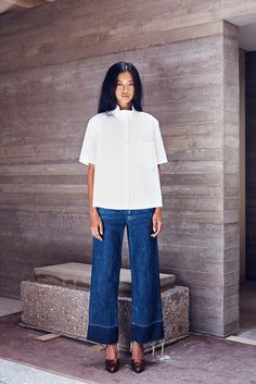 Rachel Comey Legion frayed hem jeans, white collared blouse, red leather heels