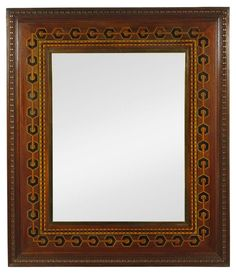 19th c marquetry mirror