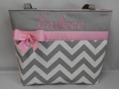 NEW ....CHEVRON  in Gray .. .. PINK Accents  ...   Diaper Bag ... Monogrammed  FReE. $44.99, via Etsy Shop TweedleTotes