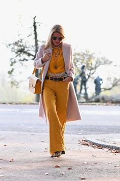 How to Wear Yellow this Winter - FunkyForty Play Clothing, Wide Pants, Unique Shoes, Lifestyle News, Yellow Sweater, Fashion Bloggers, Modern, Cashmere, Neutral