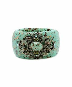 Filigree and Oval Stone Marble Cuff Bracelet - Sage