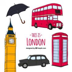 Elementos de cultura Londinense esbozados Vector Gratis