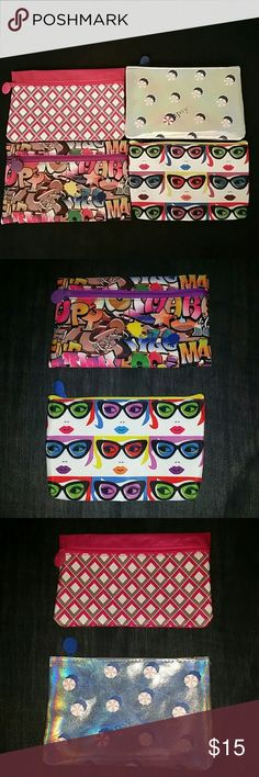 """Four Zippered Makeup Bags Four makeup bags with colorful graphic prints: Graffiti, """"Warhol""""-type girl with sunglasses (solid blue on back), Pink & gray diamond pattern (solid pink on back), & Iridescent silver with aerial umbrella shapes. Brand new. Never been used. ipsy Makeup Brushes & Tools"""