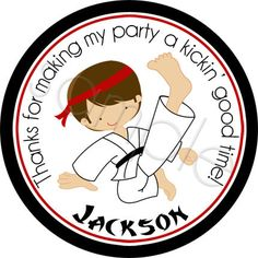 The Karate Kid.  Personalized stickers by partyINK.