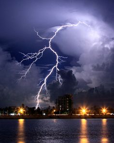 lightning over Tonle Sap river in Phnom Penh, Cambodia