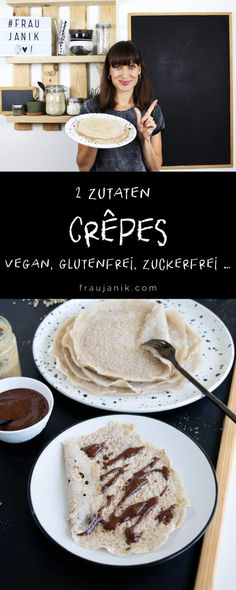 Crepes vegan & gluten-free with only 2 ingredients – Ms. Janik Crepes vegan & gluten-free with only 2 ingredients – Ms. Clean Eating Recipes For Dinner, Clean Eating Breakfast, Clean Eating Meal Plan, Clean Eating Snacks, Easy Dinner Recipes, Dinner Ideas, Vegan Recipes Videos, Easy Healthy Recipes, Quick Easy Meals