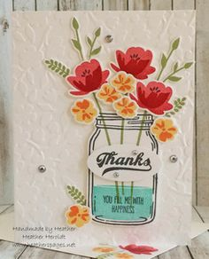 Stampin' Up! Jar of Love Mason Jar Cards, Mason Jars, Canning Jars, Card Making Inspiration, Making Ideas, How To Make Fireworks, Love Jar, Cards For Friends, Friend Cards