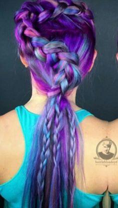 Purple braided dyed hair @bottleblonde76