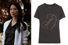 Elementary season 2, episode 4: Joan Watson's (Lucy Liu) grey Kiki de Montparnasse Graphic Collection T-Shirt #getthelook #joanwatson #elementary