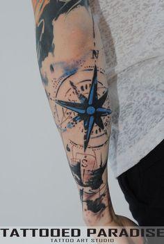 trash polka tattoo by dopeindulgence Elbow Tattoos, Map Tattoos, Forearm Tattoos, Body Art Tattoos, Sleeve Tattoos, Tatoos, Compass Rose Tattoo, Compass Tattoo Design, Tattoo Rose Des Vents