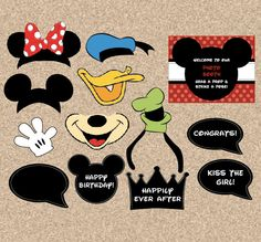printable Disney photobooth props - digital DIY mickey party photo booth on Etsy, $6.99