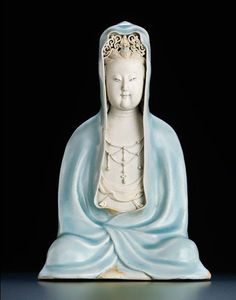 An exceptionally rare qingbai seated figure of guanyin. Southern Song dynasty (1127-1279). A world auction record for Qingbai porcelain