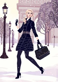 kalidraws:    Before spring swings into full bloom, I wanted to share a postcard I created for french fashion designer Anne Fontaine! I previously drew a Bastille Day postcard and it was fun to work with them again on a holiday-season mailer! This time the postcard features one of their new winter coats and bags, frolicking around a snowy Arc de Triomphe. More process on my blog!