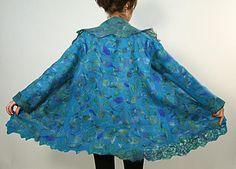 Nuno felted wool coat jacket PEACOCK reated by wet nuno-felting. Made from Merino wool, Habotai silk, wool, mohair and silk yarns, tencel fibers.   - ChicComplement, Olga Babenko