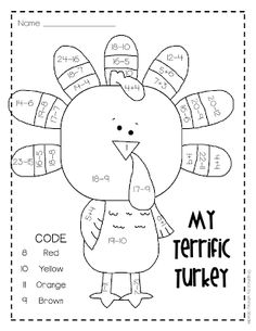 Thanksgiving Addition And Subtraction Worksheets Math Coloring Worksheets, Subtraction Worksheets, Printable Worksheets, Free Printable, Grade 2 Math Worksheets, Printable Numbers, Number Worksheets, Free Worksheets, Preschool Worksheets