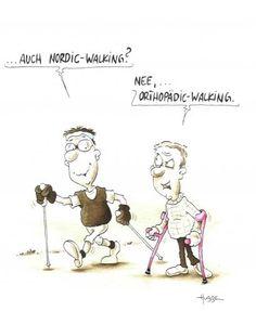 La marxa nòrdica també és present als comics europeus.  www.nordicwalking-girona.blogspot.com Nordic Walking, Place Card Holders, Rando, South Africa, Comic, Gym, Walking Canes, Humor, Comic Strips