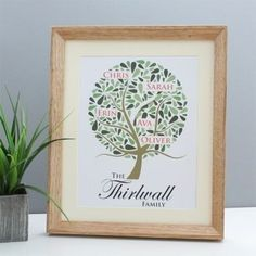 Treat your dad to a Family Tree Personalised Framed Print this #FathersDay. Choose the names of all the family and they will feature in the tree! #FathersDayGifts #DadsGifts #FamilyTree #PersonalisedPrint £24.99