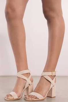Sitara Suede Open Toe Ankle Strap Heel at Tobi.com #shoptobi