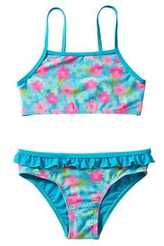 Blue Floral Strappy Little Girls Tankini Set