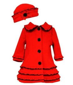 e0dd823cfca9 Bonnie Jean Girls Winter Red Holiday Fleece Coat  amp  Hat 6M 12M 18M New