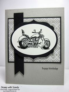 The Paper Players card made by Sandy, Stamp with Sandy, Stampin Up, Motorcycle stamp