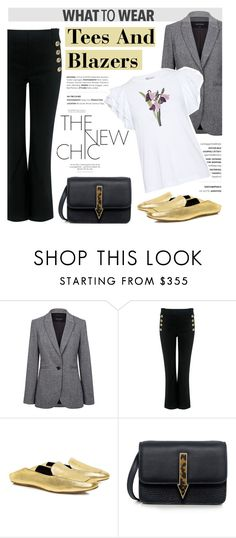 """""""What to wear: Tees And Blazers"""" by ifchic ❤ liked on Polyvore featuring Pink Tartan, 10 Crosby Derek Lam, TIBI, Mohzy, RED Valentino and contemporary"""