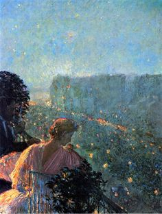 Frederick Childe Hassam Summer Evening, Paris hand painted oil painting reproduction on canvas by artist Claude Monet, Paris Painting, American Impressionism, Impressionism Art, Renoir, Nocturne, American Artists, Love Art, Art History