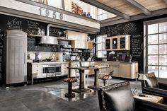 déco cuisine industrielle vintage avec peinture tableau noir- cuisine 1956, design par Marchi
