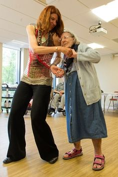 Vicky, 85, in a dance therapy class.Dance therapy helping older people