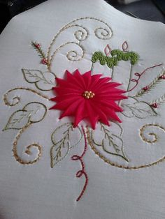 Descripcion de puntadas Ribbon Embroidery Tutorial, Silk Ribbon Embroidery, Hand Embroidery, Machine Embroidery Patterns, Embroidery Stitches, Sewing Patterns, Christmas Cushions, Brazilian Embroidery, Christmas Sewing