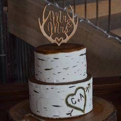Cake Topper Mr and Mrs Deer Antler Calligraphy Wood