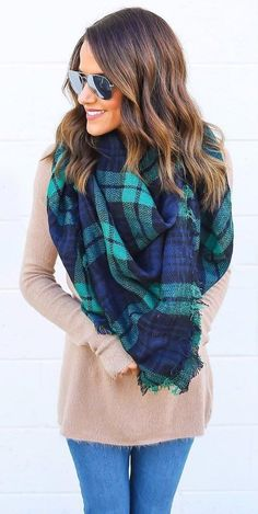 #pretty #winter #outfits /  Plaid Scarf // Camel Sweater // Skinny Jeans