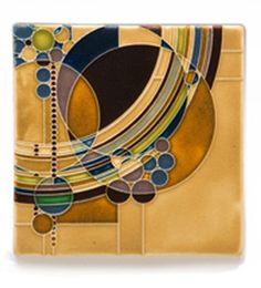 Frank Lloyd Wright March Balloons Tile by Motawi Tileworks in Ann Arbor, Michigan. Adapted from a presentation drawing that Wright submitted to Liberty magazine in 1927 as one of 12 cover designs, this tile will make an artistic addition to any home or office.