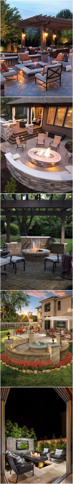 Outdoor fire pits design Ideas and patio ideas. Amazing outdoor living ideas. #pergolafirepit
