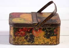 Beautiful Vintage  french TIN BOXbasket FRUITS by RueDesLouves, $55.00