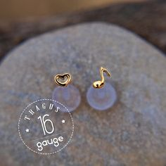 TRAGUS SET 3mm tiny Heart  & Music note Gold LABRET /16 gauge/ BioFlex/ 24k gold plated/Sterling silver/ tragus earring/cartilage earring