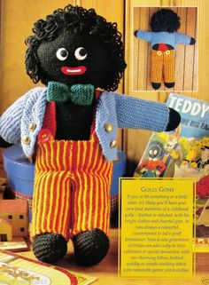 VINTAGE - 1970'S - GOLLY MY GOLLIWOG DOLL - LARGE SOFT TOY - 40 CM'S TALL  -8 PLY KNITTING PATTERN ONLY ..... I HAD ONE HE IS SO CUTE AND WHAT A LOVELY GIFT IT WOULD MAKE