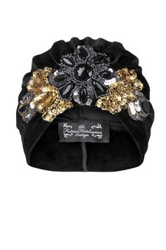 Black Velvet Turban with Bold Gold and Black Floral Applique