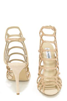 Steve Madden Slithr Blush Multi Rhinestone Caged Heels at Lulus.com!
