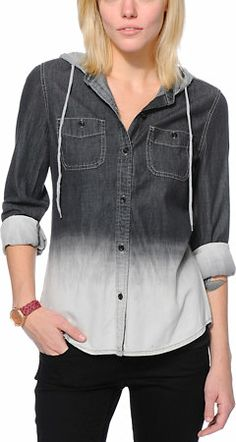 Empyre Girls Raleigh Black Dip Dye Button Up Shirt at Zumiez   PDP Tomboy  Fashion f50cc9ea4cb